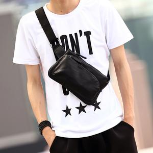 新款潮男街头腰包时尚胸包斜挎包胸前小包斜挎手机包韩版单肩男包