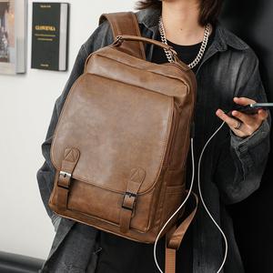 新款大容量复古双肩包 潮流韩版男包书包电脑包双肩背包单肩包潮