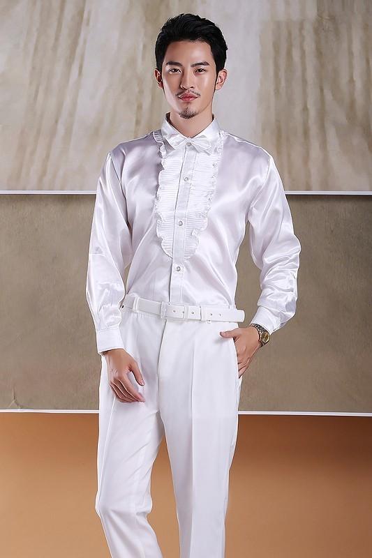 拍照影楼荷花边衬衣男士长袖衬衣男装衬衫写真衬衣大合唱演出服装