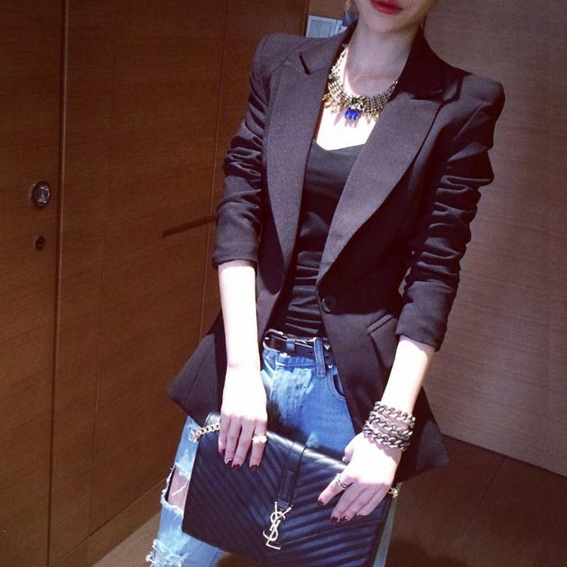 西装外套女中长款韩版修身显瘦2018春秋新款耸肩帅气职业装小西服