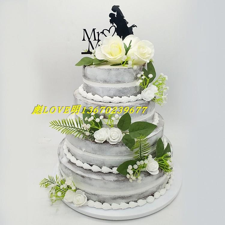新款仿真多层裸蛋糕生日假蛋糕模型草莓水果样品摆设道具展示品
