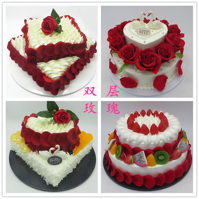 双层玫瑰花仿真生日蛋糕模型婚庆婚礼装饰水果假蛋糕拍摄样品道具