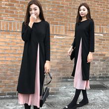 时尚 假两件长裙 宽松雪纺拼接连衣裙胖mm遮肚显瘦长袖 新款 秋季 大码