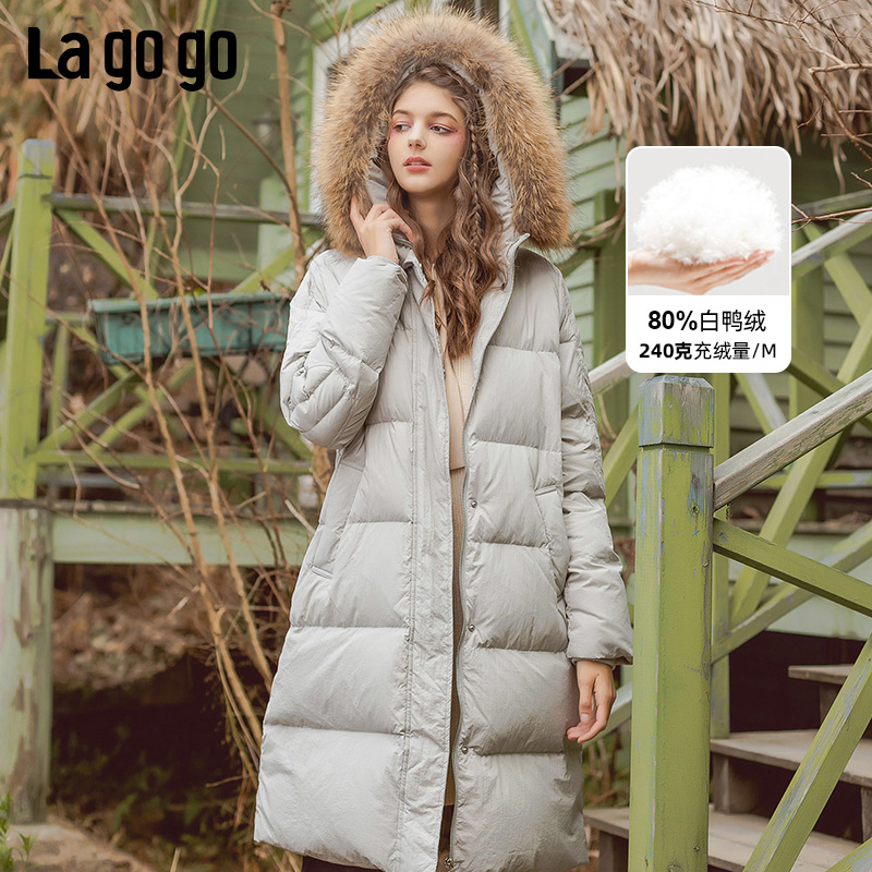 Lagogo pull hook official 2019 winter new hooded wool collar down jacket women's medium long thickened white duck down