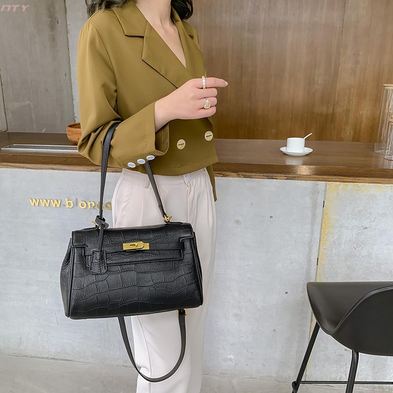 Trendy luxury womens bag Hong Kong brand crocodile T-Shirt NEW pure leather Kelly portable One Shoulder Messenger Bag