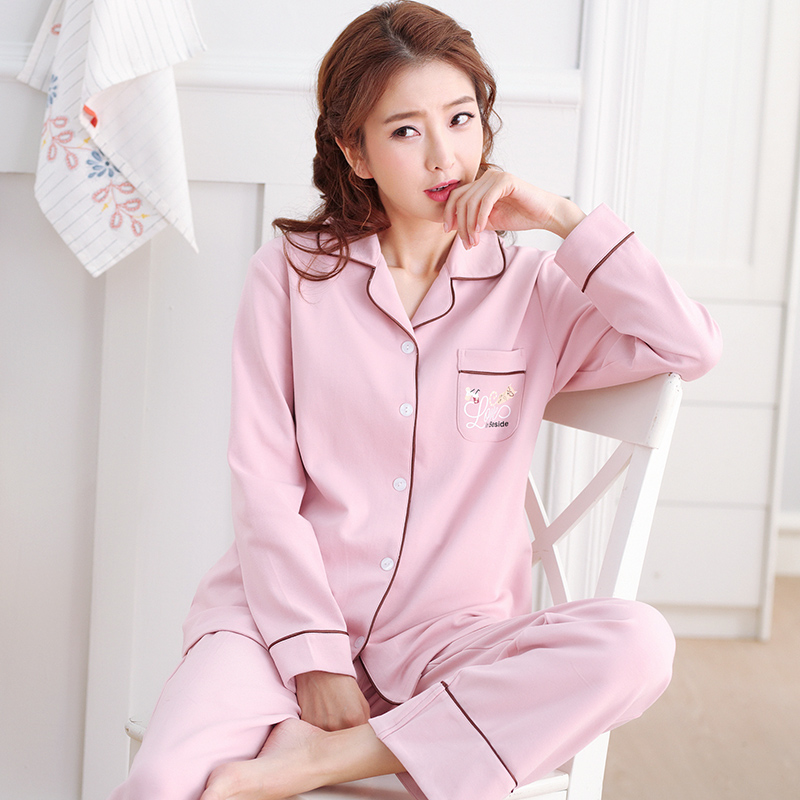 Spring and autumn pajamas womens long sleeve 100% cotton oversize Antarctica cotton feel home suit