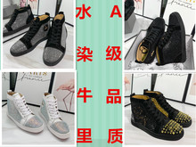 Net Red Autumn and Winter Red Bottom GZ CL Men's Shoes with High Uppers and Rivets for Women's Shoes