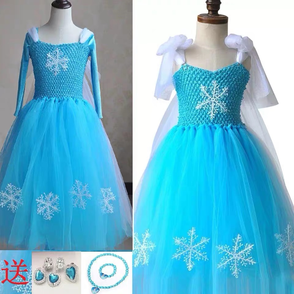 New ice and snow princess skirt Elsa Aisa short long dress dress dress Christmas puff yarn skirt