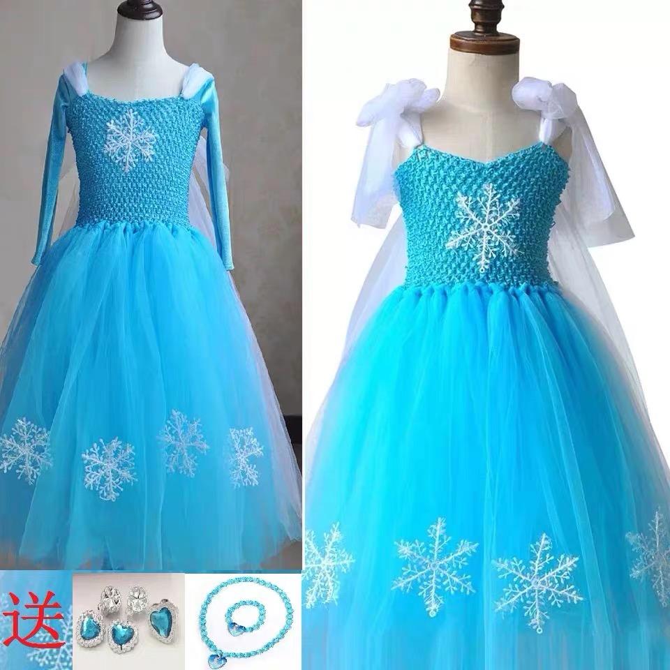 新款冰雪奇缘公主裙爱莎艾莎短款长款连衣裙服装圣诞节蓬蓬纱裙子