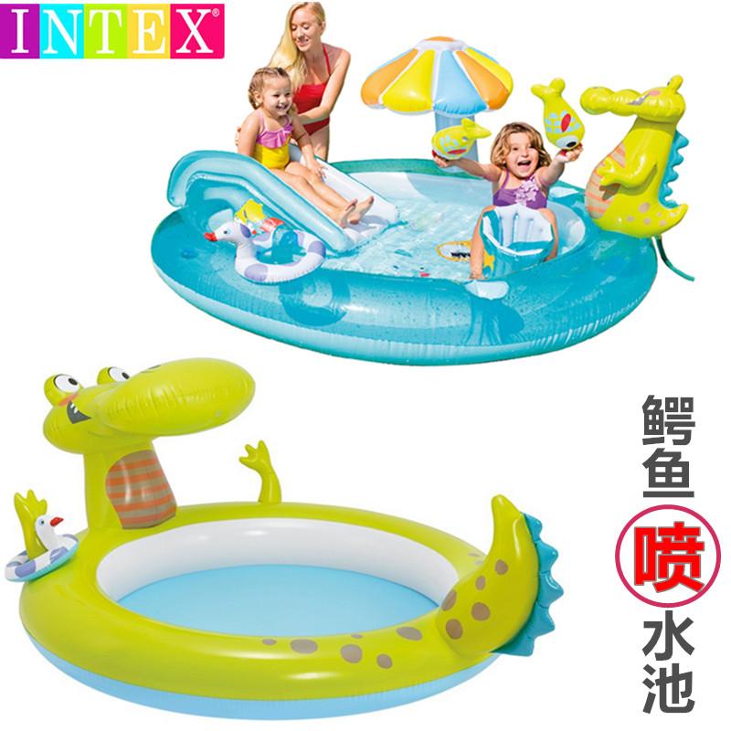 儿童游泳池家用加厚家庭水上乐园 INTEX鳄鱼充气喷水戏水池带滑梯限10000张券