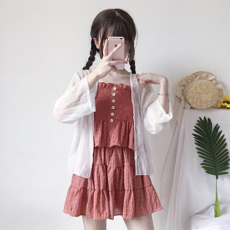 2018夏装女装新款韩版吊带上衣+半身裙+防晒衣时尚休闲套装三件套