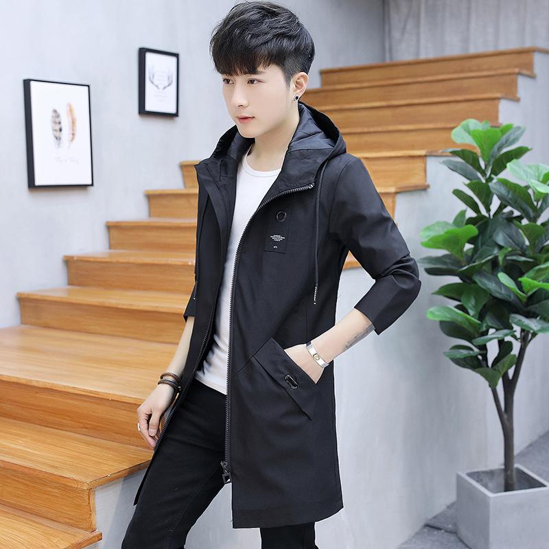 Mens coat spring and autumn 2020 new Korean thickened thin windbreaker mens Plush mid long spring jacket