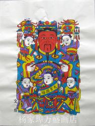 杨家埠木版年画中号年画白色黄色宣纸文座天官赐福 手工套色印制