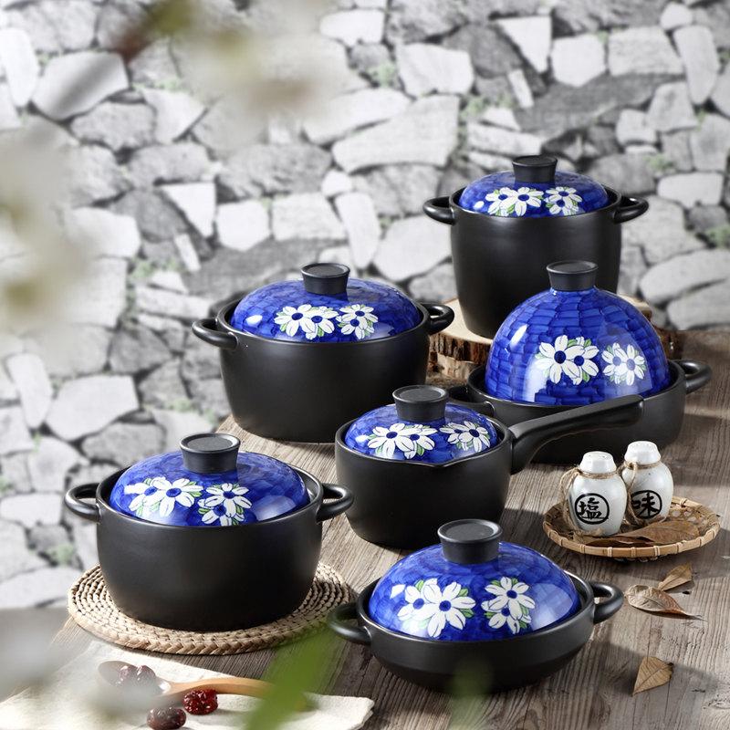 福传兰花砂锅炖锅陶瓷日式煲汤锅石锅拌饭煲仔饭沙锅耐热高温家用