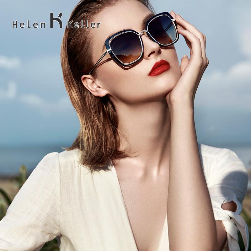 海伦凯勒2019新款时尚潮小脸太阳镜优雅偏光墨镜女猫眼镜框H8819
