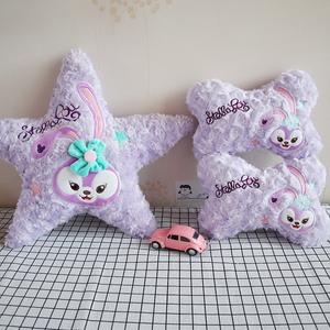 卡通达菲紫色兔子车载玫瑰绒抱枕靠垫汽车头枕护颈枕车饰用品