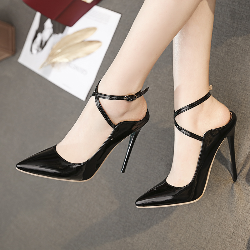 Custom 12cm slim heel pointed ankle buckle open heel new fashion wedding shoes show womens shoes High Heels Sandals