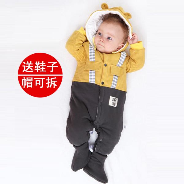 婴儿连体衣冬夹棉加厚外出新生儿棉衣服保暖宝宝新年装红色连体衣