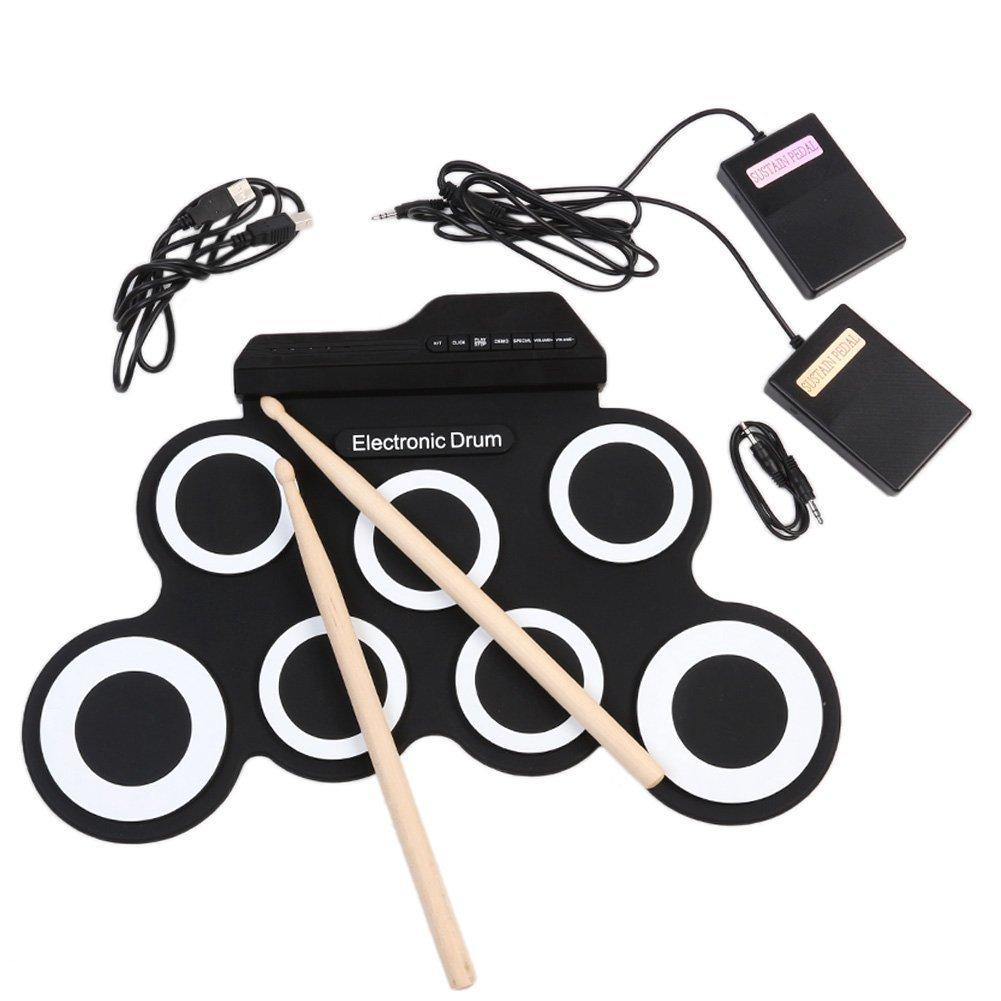 手巻きUSB電子ドラム黒色携帯型ドラム練習ドラム折りたたみシリコンドラム