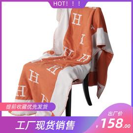 样板间橙黑灰色字母床尾巾软装床品配件简约沙发搭巾午睡毯休闲毯图片