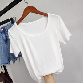 冰丝2020春夏新款修身圆领半袖针织衫女短袖打底ins显瘦上衣薄T恤