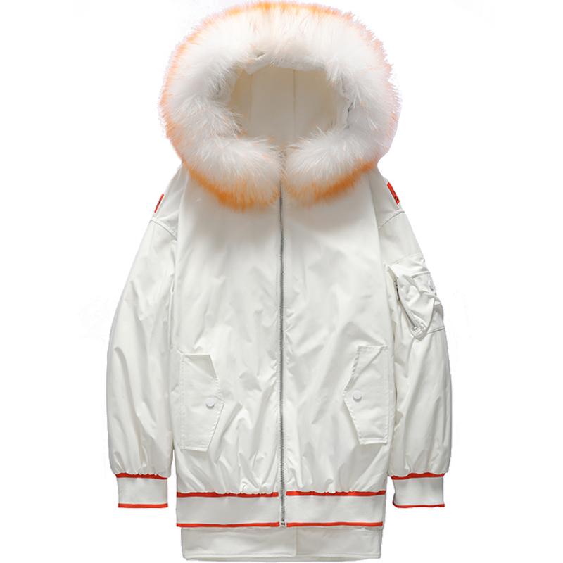 反季特价 艾尚雪时尚休闲大貉子毛领加厚保暖羽绒服派克服女424