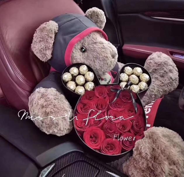 2020情人节生日红玫瑰米奇天使抱抱桶大连鲜花同城速递本地花店送