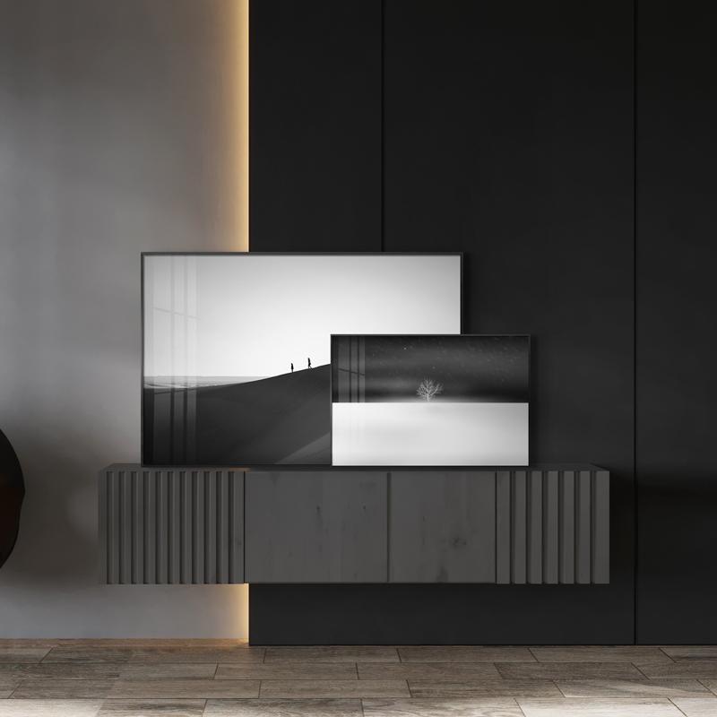 现代抽象黑白风景客简约厅背景墙