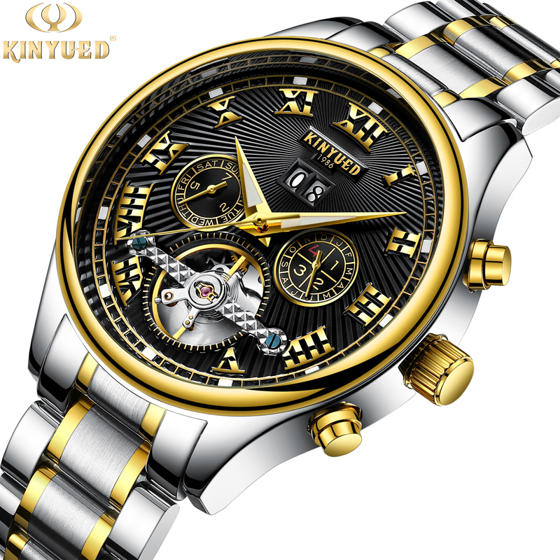 High quality fully automatic hollowed out Tourbillon mens leather pointer type mechanical wrist watch world time calendar luminous