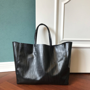 shopping cabas 包包 宽横款 tote 竹叶肌理黑色 bag托特购物袋