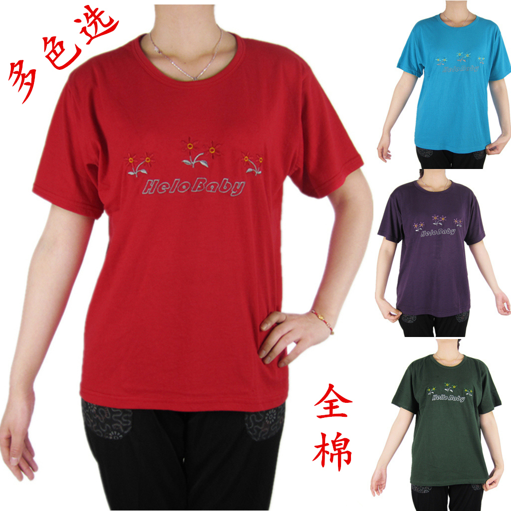 Summer mother embroidered cotton loose large round neck Short Sleeve T-Shirt Top middle-aged and old womens all cotton granny