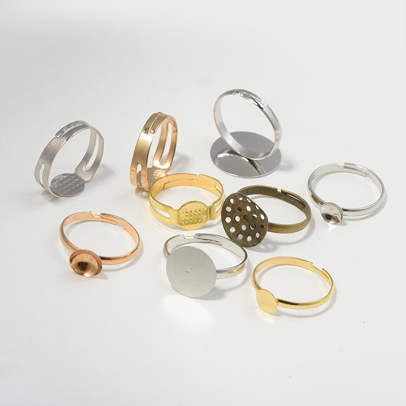 diy手工材料戒指托空托托盘戒指环指环底托 可调节戒指配件环保