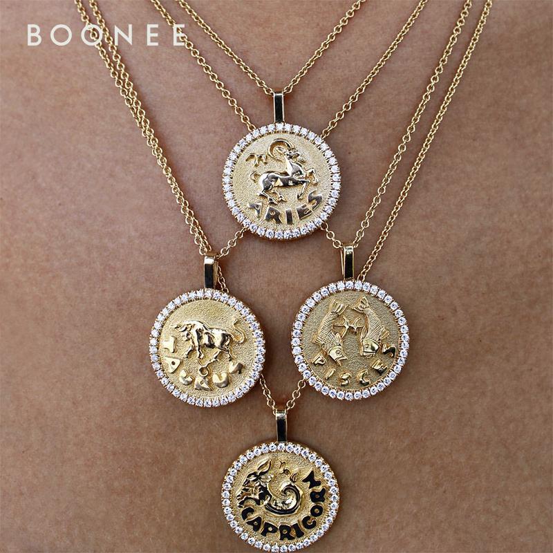 BOONEE◆定制时髦复古镶钻浮雕12星座金币吊坠短款项链 锁骨链女