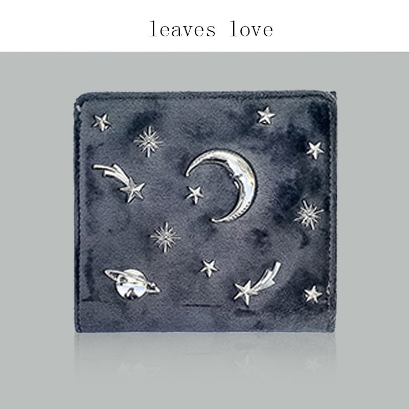 Star sky star moon rivet wallet womens short zero wallet Mini cute velvet Wallet