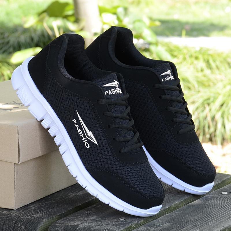 新款网面运动鞋男士休闲跑步鞋女情侣鞋学生旅游鞋轻便波鞋加大码