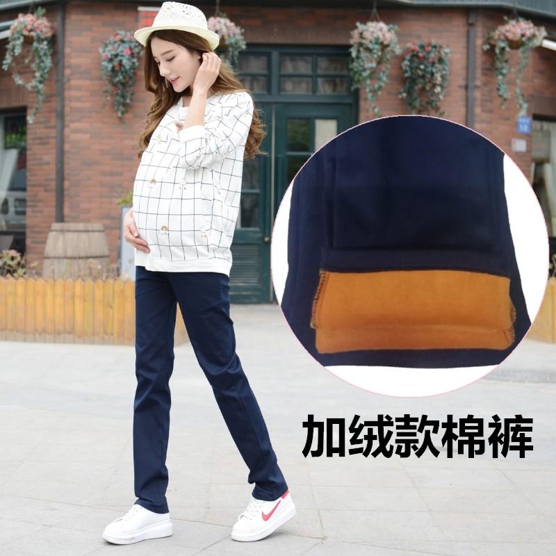 孕妇加绒裤外裤直筒大码托腹裤长裤高腰弹力可调大号外穿孕期裤装