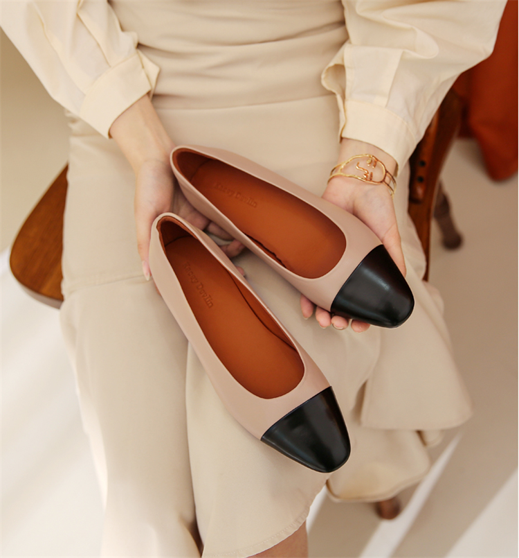 Comfortable deerskin womens shoes small fragrance color matching sheepskin womens shoes low heel work single shoes with beautiful feet