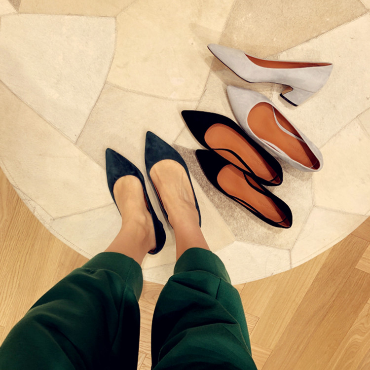Comfortable deerskin work clothes shoes pointed cashmere deerskin lining thick high heels comfortable commuter single shoe woman