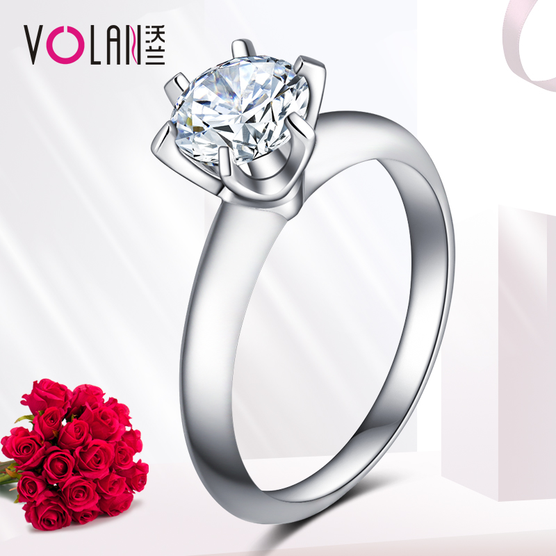 Wallan jewelry 50 cent water drop diamond ring Genuine White 18K Gold proposal wedding diamond ring Princess gift