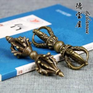 纯铜手工降魔金刚杵法器小号摆件五股件铜杵手把件密宗法器佛器铜