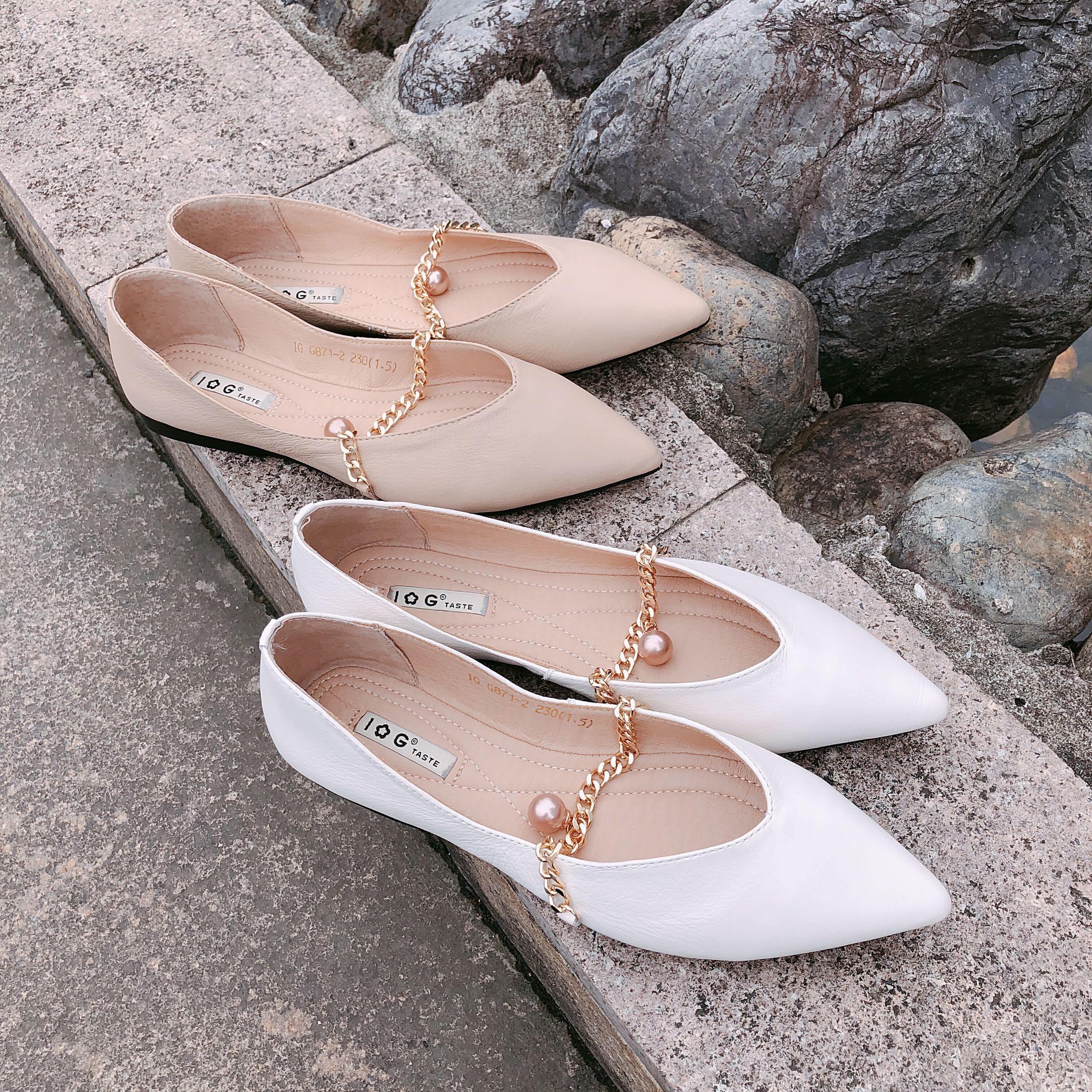 正品IG夏季新款珍珠链条浅口真皮尖头女单鞋牛皮休闲秀气平底鞋