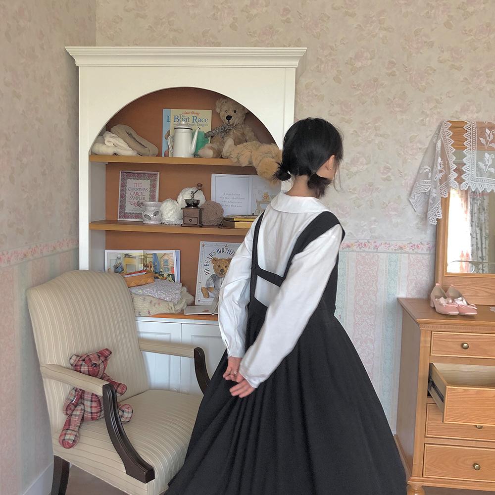 11月09日最新优惠南西 日系背带裙女中长款复古宽松休闲简约黑色背心连衣裙 方领
