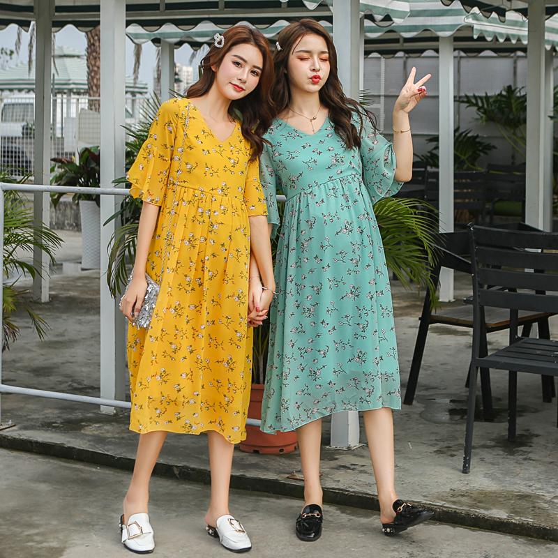 新款孕妇装夏装新款连衣裙长裙小碎花雪纺连衣裙2019