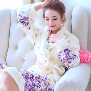 Любители ночное белье женщина с длинными рукавами весна фланель халаты осень и зима пижама мужчина такси толстый коралл большой двор домой одежда