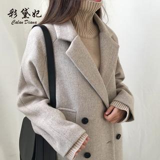 2021秋冬季新款韩版显瘦女装毛呢外套女修身大码中长款呢子大衣潮