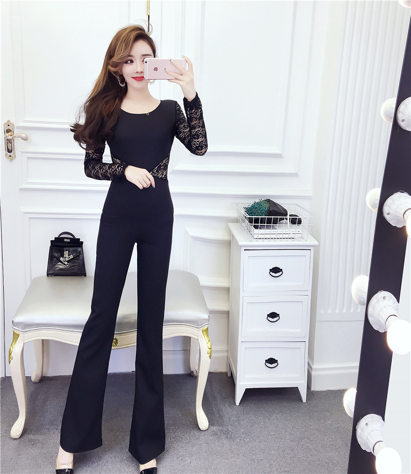 2019 autumn new celebrity Sexy Lace Panel back hollow Jumpsuit with spicy wide leg pants