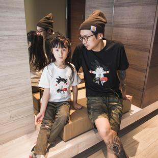 一家三短袖亲子装卡通七龙珠女t恤