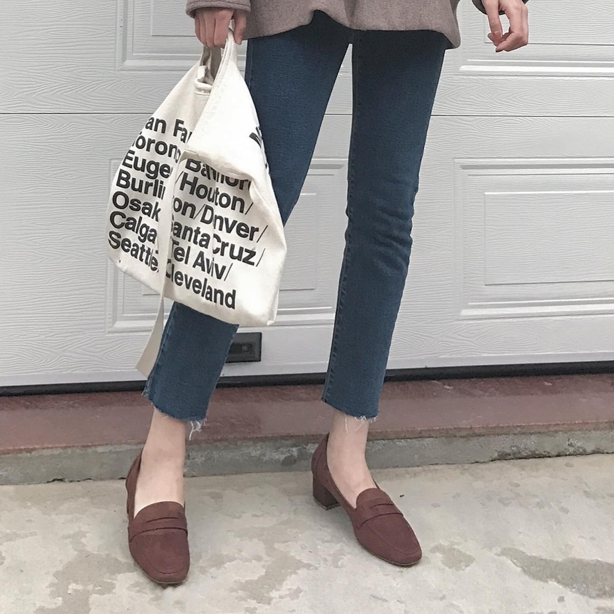 阿Q哥家 19秋方头 粗跟英伦复古开口浅口中性韩版女单鞋中高跟鞋(非品牌)