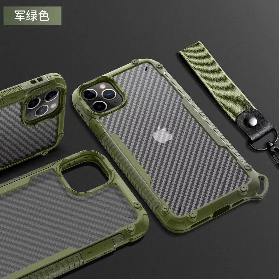 适用于户外防摔苹果11手机壳腕带iPhone12Promax软碳纤维纹耐磨男
