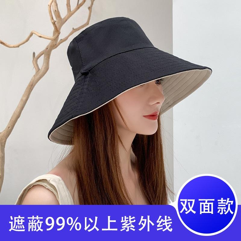 双面女春夏天韩版遮阳帽遮脸渔夫帽